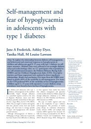 Self-management and fear of hypoglycaemia in adolescents with ...