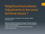 Neighbourhood policies Adjustments to the same territorial issues ?