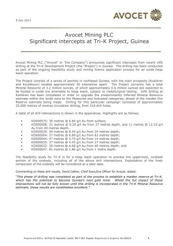 Avocet Mining PLC Significant intercepts at Tri-K Project, Guinea