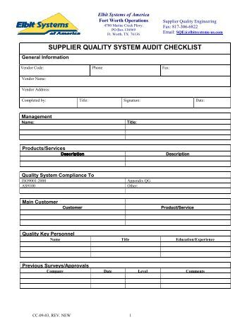 supplier audit plan template - supplier quality system audit checklist elbit systems of