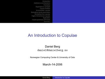 An Introduction to Copulae - danielberg.no