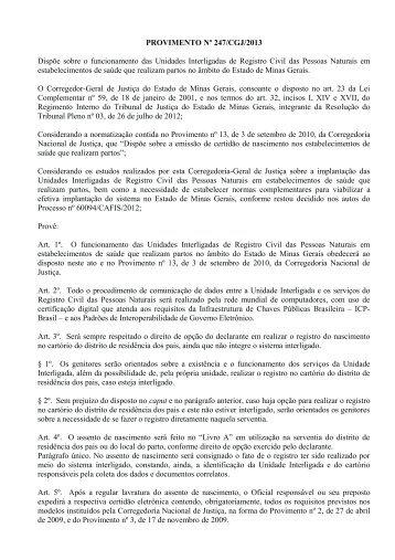 provimento nº 247/2013 - Recivil