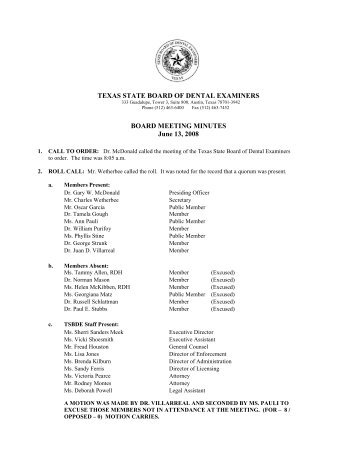 texas state board of dental examiners board meeting minutes