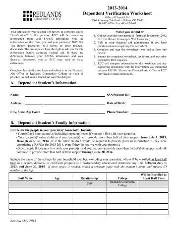 Dependent Verification Worksheet - Genius