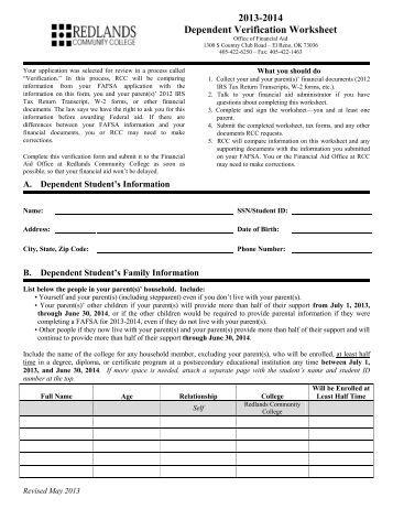 Worksheets Dependent Verification Worksheet dependent verification worksheets v1 academy of art university 2013 2014 worksheet redlands