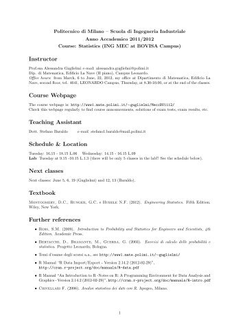 Instructor Course Webpage Teaching Assistant Schedule & Location ...