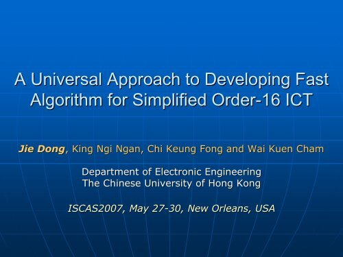 n - Electronic Engineering - The Chinese University of Hong Kong