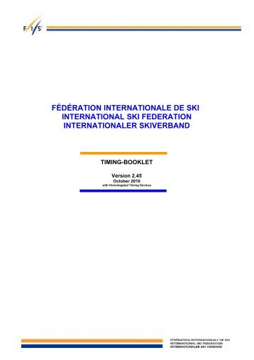 FIS Timing Booklet - International Ski Federation