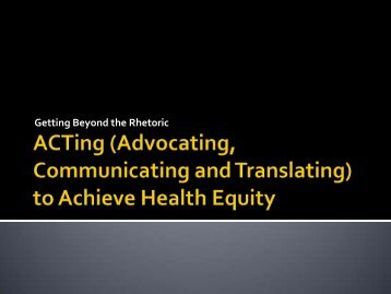 to Achieve Health Equity - Society for Public Health Education
