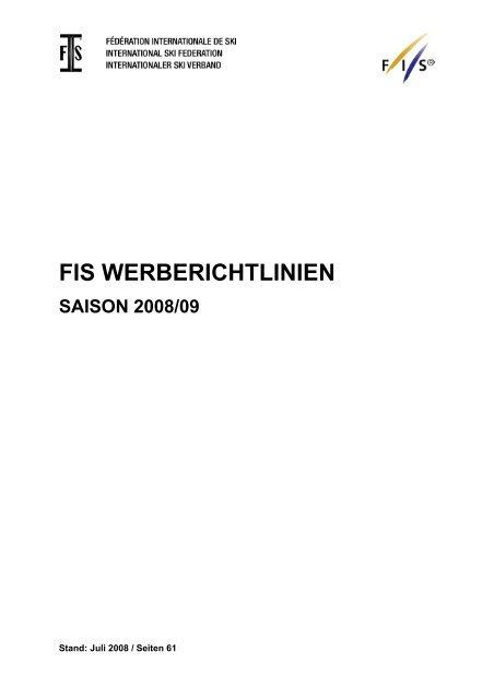 Fis Werberichtlinien Saison 200809