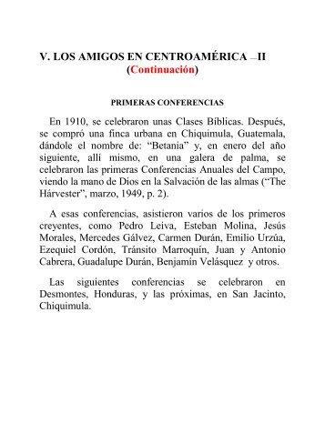 V. LOS AMIGOS EN CENTROAMÉRICA —II ... - Instituto ALMA