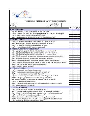 Childrens Center Safety Inspection Form General - Safety audit checklist template