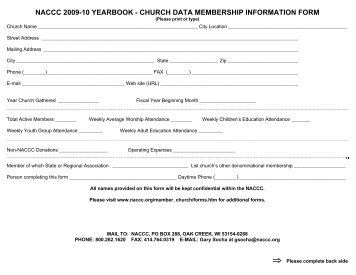 naccc 2009-10 yearbook - church data membership information form