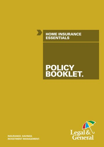 Essentials home insurance policy booklet - Legal & General