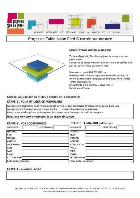 Projet De Table Basse Pied-G Carrée Sur Mesure