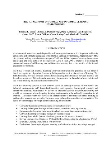 FILE: A Taxonomy Of Formal And Informal Learning Environments