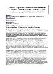 Medienmitteilung kaspv zum SVP Postulat zur Stellenstreichung