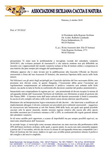 Gazzetta Ufficiale Calendario Venatorio Sicilia.Lettera Al Presidente Lombardo Associazione Siciliana