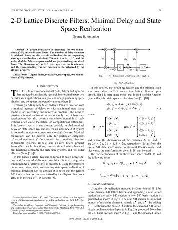 2-D lattice discrete filters: minimal delay and state ... - IEEE Xplore