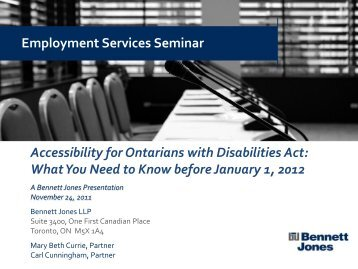 Accessibility for Ontarians with Disabilities Act: What ... - Bennett Jones