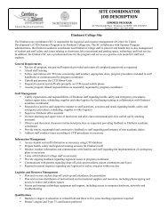 site coordinator job description - Center for Talent Development ...