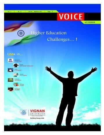 Voice of September 2011 - Vignan University