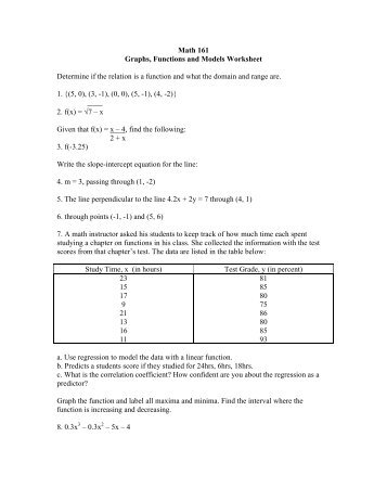 math worksheet : math 080 graphs and functions worksheet determine if the ordered  : Math Functions Worksheet