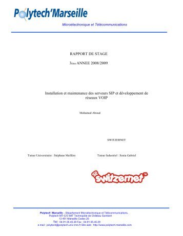 RAPPORT DE STAGE 3ème ANNEE 2008/2009 ... - Switzernet