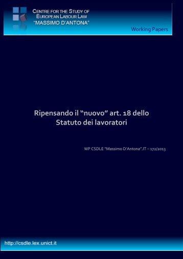 """Ripensando il """"nuovo"""" art. 18 dello Statuto dei lavoratori - Datalexis"""