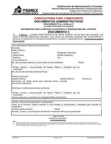 documentos administrativos documento 3 - Pemex Gas y ...