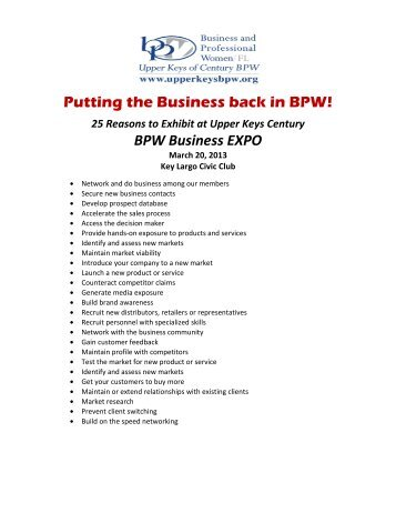 BPW Business EXPO - Upper Keys Business and Professional Women