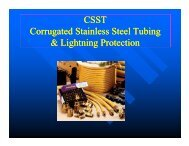 CSST Corrugated Stainless Steel Tubing & Lightning Protection