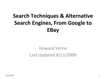 Advanced Search Techniques & Alternative Search Engines, From ...