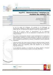 mysTIC : Démonstrateur robotique du mystère des métiers ... - EIA-FR