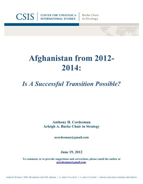 Afghanistan from 2012- 2014: - Center for Strategic and International ...