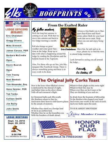 The Original Jolly Corks Toast - Manasquan Elks Lodge # 2534