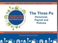 The Three Ps- Personnel, Payroll and Policies - Iowa League of Cities