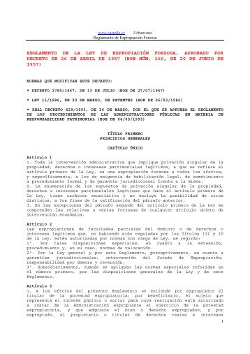 Reglamento de la Ley de Expropiación Forzosa, Decreto de 26 de ...