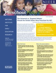Should the United States Have Preschool for All? - National Institute ...