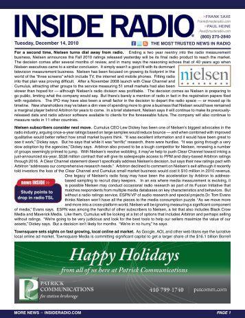 news INSIDE >> Tuesday, December 14, 2010
