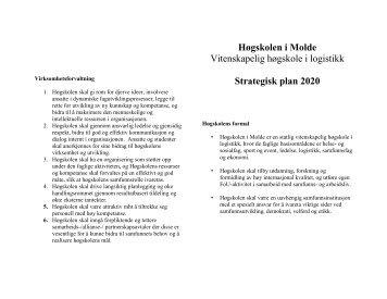 Strategisk plan 2009 - 2011 - Høgskolen i Molde