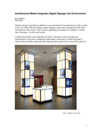 Architectural Media integrates Dynamic Display with ... - Lyle Bunn