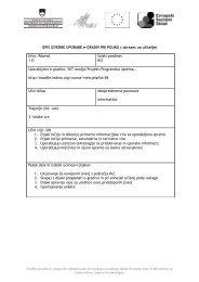 CILJ: razvoj e-kompetenosti učiteljev (uporaba IKT pri delu z u