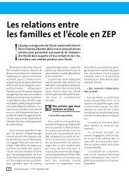 Les relations entre les familles et l'école en ZEP
