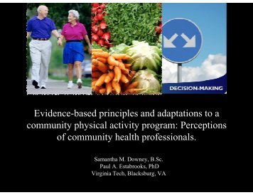 Evidence-Based Principles and Adaptations to a Community ...