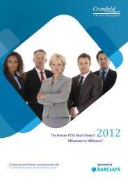 The Female FTSE Board Report 2012 - Women on Boards