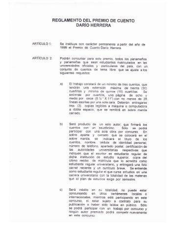reglamento del premio de cuento darío herrera - Universidad de ...