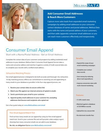 Consumer Email Append - Melissa Data