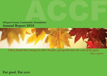 2010 Annual Report - Allegan County Community Foundation
