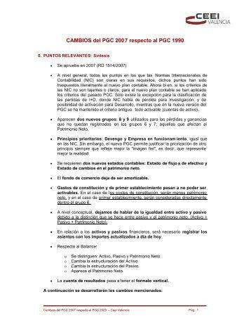 CAMBIOS del PGC 2007 respecto al PGC 1990 - EmprenemJunts